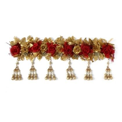 Toran With Golden & Red Roses & Latkans - Sugar Candy