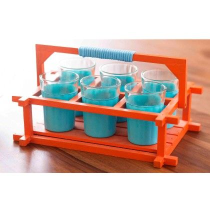 Chai Glasses - Teal Blue And Orange - PoppadumArt