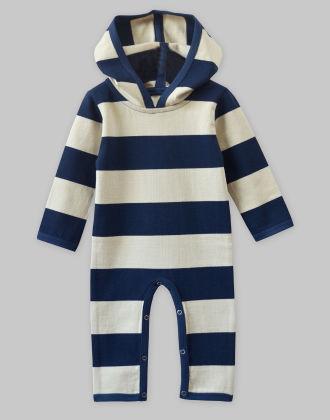 Heavy Jersey Stripe Hooded Jumpsuit - A.T.U.N
