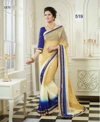 Golden Blue Lace Work Designer Saree - Fashion Fiesta