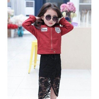 Front Slit Lace Skirt - Petite Kids