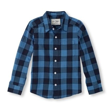 Long Sleeve Check Print Button Down Shirt - Happyblue - The Children's Place