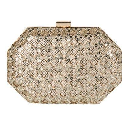 Hexagon Sequinned Peekaboo Hand Bag - Arancia