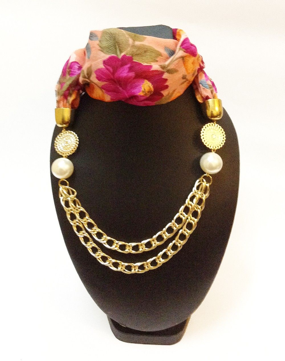 Raw Silk Peach Floral Print Necklace Scarf - Lime