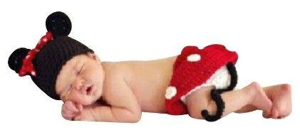 Newborn Red Four Piece Minnie Mouse Crochet Dress Up Photoprop Set - NeedyBee