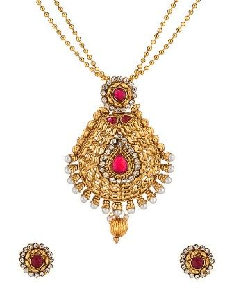 Voylla Pendant Set With Yellow Gold Tone Embellished With Pink Stones
