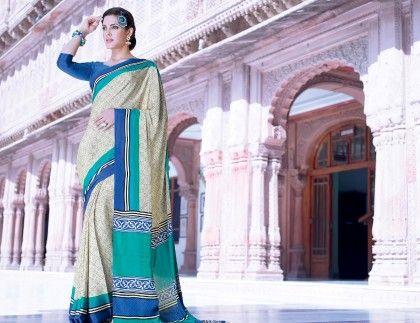 Off White All Over Printed Saree - Fashion Fiesta