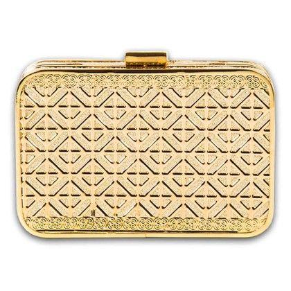 Gold Window Metal Clutch Hand Bag - Arancia