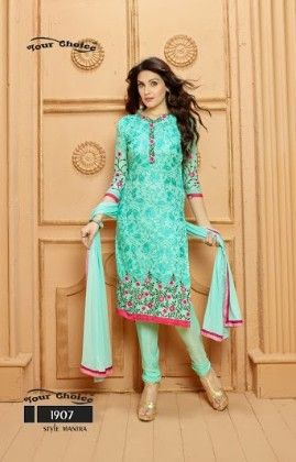 Blue Floral Dress Material - Fashion Fiesta