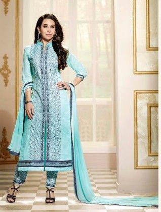 Blue Plazzo Style Dress Material - Fashion Fiesta