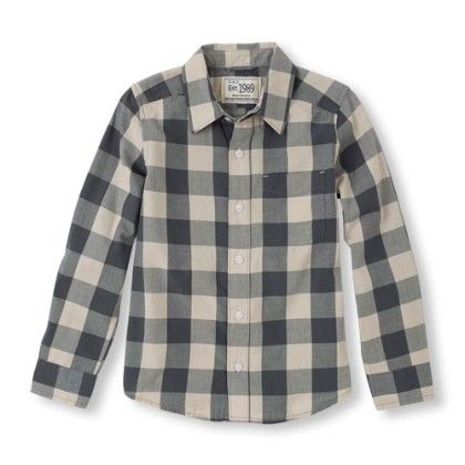 Long Sleeve Check Print Button Down Shirt - Graystone - The Children's Place