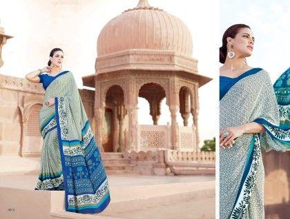 Floral Printed Saree Blue - Fashion Fiesta