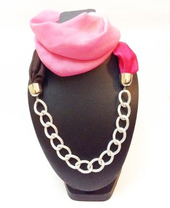 Satin Georgette Pink Shaded Necklace Scarf - Lime