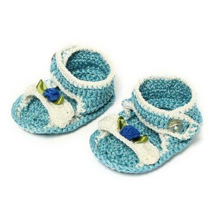 Wonderkids Light Blue & White Crochet Sandals