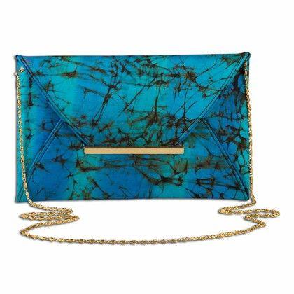 Blue Black Freckled Tiedye Envelope Hand Bag - Arancia