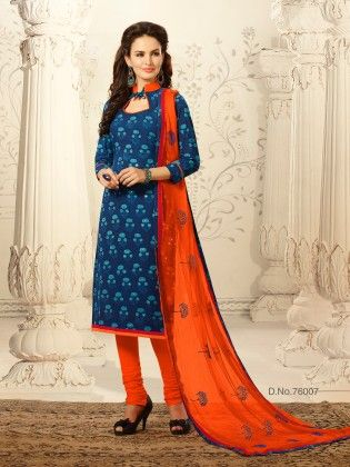 Contrast Embroidery Thread Work With Floral Printed Top & Ready Lace - Touch Trends Ethnic