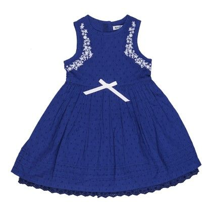 Casual Gathered Dress In Navy Color With Contrast Embroidery - Nauti Nati