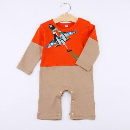 Orange Aeroplane Print Playsuit - Snuggle Bunny
