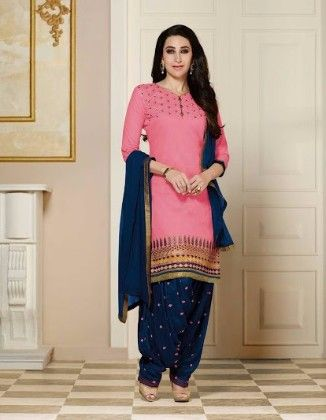 Patiala Pink Dress Material - Fashion Fiesta