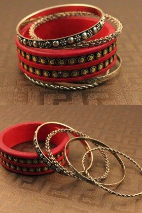 Set Of Red And Metal Bangle - Enigma