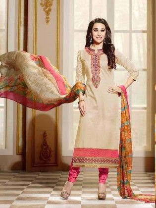 Beige Straight Suit Dress Material - Fashion Fiesta