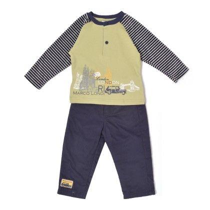 Set Of 2 Top & Pants -green & Yarn Dye Stripe & Navy - WWW