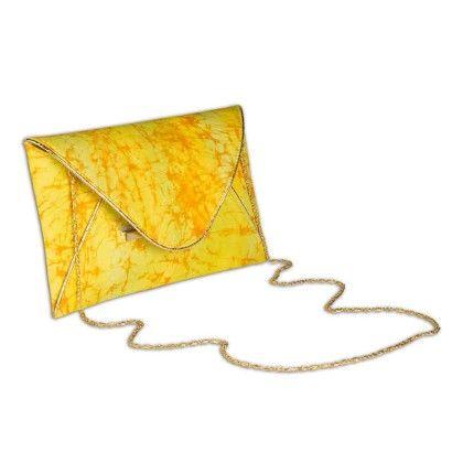 Yellow Speckled Tiedye Envelope Hand Bag - Arancia