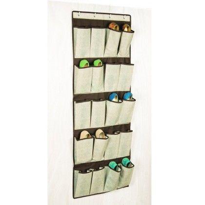 Celessence Crisp Linen 20 Pocket Over The Door Shoe Organizer - Richard Homewares