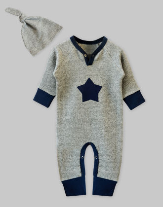Grey Loop Sweat Jumpsuit With Star Patch + Knot Hat Set - A.T.U.N