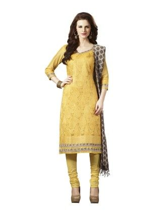 Yellow Embroideried Dress Material - Touch Trends Ethnic - 190015