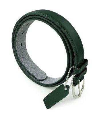 Leather Belt With Metal Buckle- Dark Green - Belle Donne