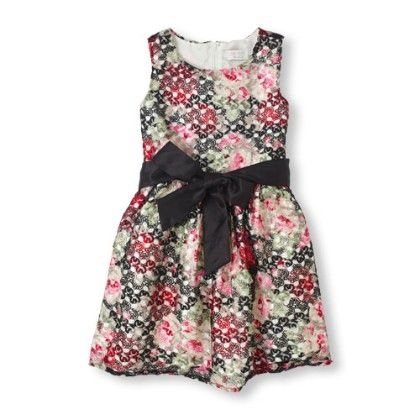 Sleeveless Floral Print Lace Dress - Black - The Children's Place