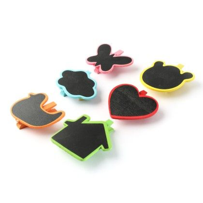 Assorted Black Board Wooden Paper Clips- Set Of 6 Clips - Diya