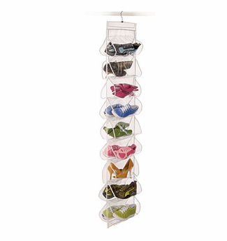 Clearly Organized Clear 18-pocket Shoe File With Hanger - Richard Homewares
