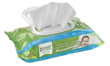 Seventh Generation Thick And Strong Free And Clear Baby Wipes With Flip Top Dispenser, 64 Count