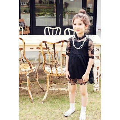 Black Lace Dress - Petite Kids