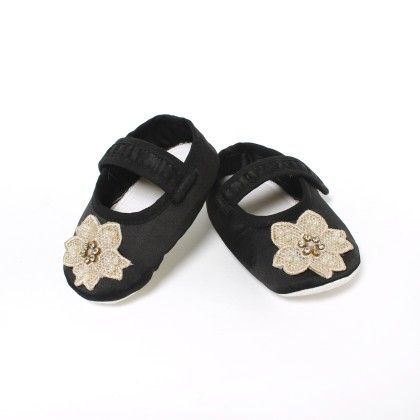 Pearlwork And Diamante Crochet Motif Shoes For Baby Girls - D'chica