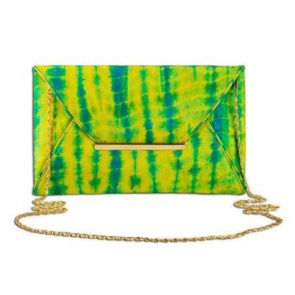 Lime Lemony Tiedye Envelope Hand Bag - Arancia