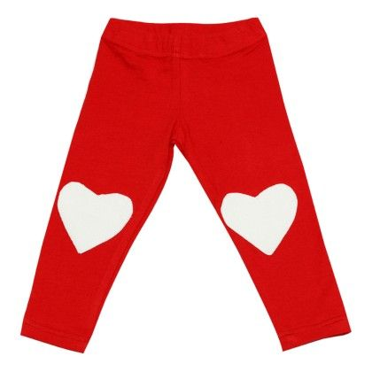 Red Leggings For Girls With Pink Heart Knee Cap - D'chica