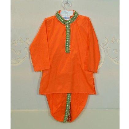 Orange And Green Dhoti Kurta And Pajama Set - Little Emporio ~ The Cutique