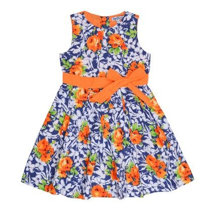 Box Pleated Dress In Floral Print With Contrast Bow - Nauti Nati