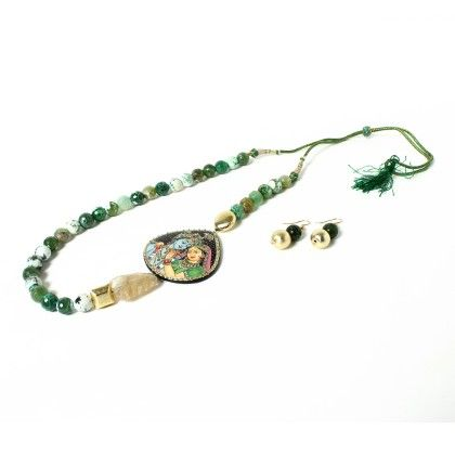 Krishna Radha Pendant With Green Beads Necklace And Ear Rings - Latitude - The Design Studio