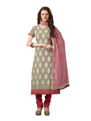Grey Embroideried Dress Material - Touch Trends Ethnic