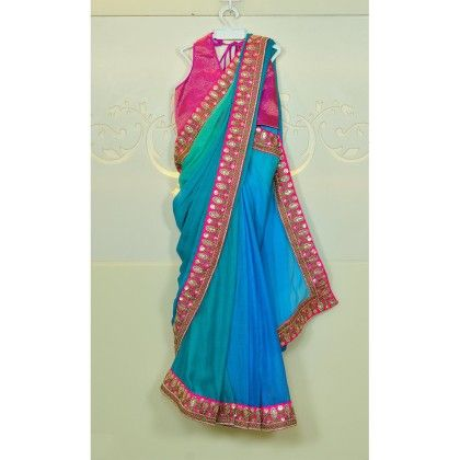 Blue Shaded Chiffon Saree With Pink Border And Pink Blouse - Little Emporio ~ The Cutique