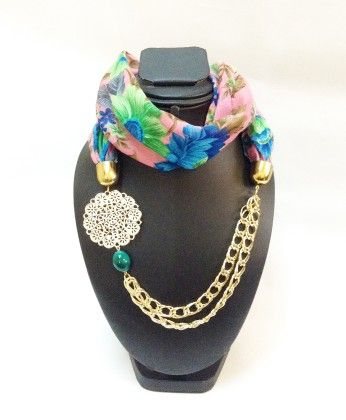 Raw Silk Pink Necklace Scarf - Lime