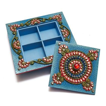 Square Blue Dry Fruit Box - Color Crave