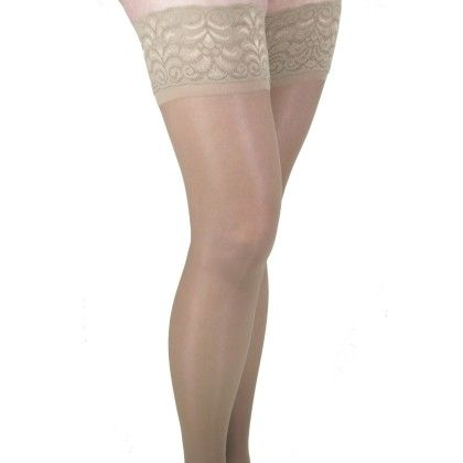 Gabrialla Thigh Highs - Lace Top W/silicone Band-sheer - Beige