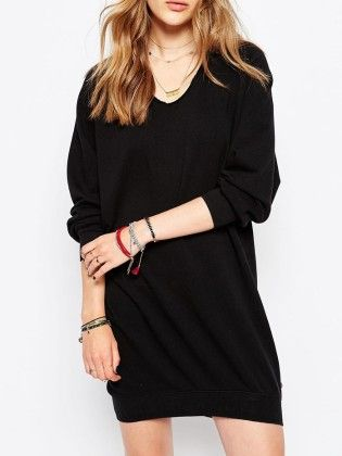 Black V Neck Long Sleeve Loose Dress - She In
