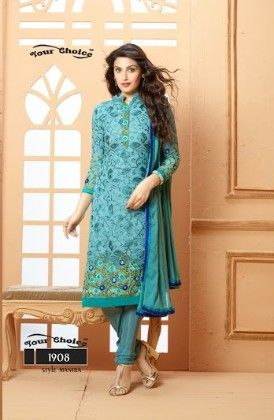 Dark Blue Floral Dress Material - Fashion Fiesta