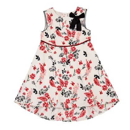 A-line Floral Printed Dress With Mullet Hem,contast Piping And Stylized Bow - Off White - Nauti Nati